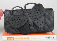 2014 new Women's handbag fashion popular chain bag vivi black check bow clutch