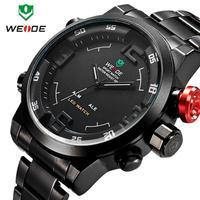 Men Wristwatches WEIDE WH2309B Luxury Brand Men Watches Full Steel Watches Alarm LED Watch Quartz Waterproof Relogio Masculino