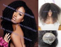Stock! super 6a quality 22inch #1b virgin brazilian afro kinky full thin skin wigs 180% heavy density free shipping