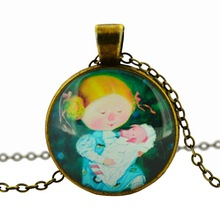 cartoon pendant necklace art picture glass cabochon chain necklace choker necklace statement necklace jewelry for women