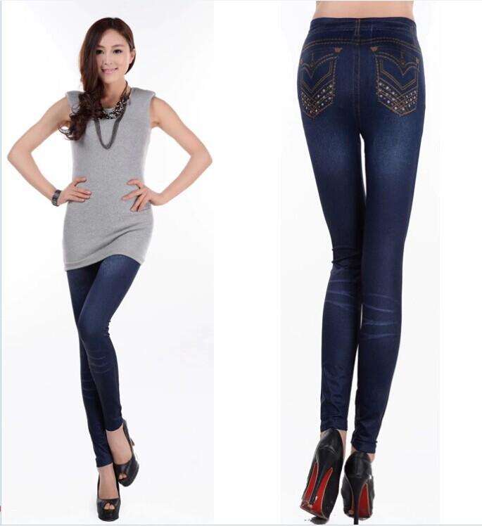 FS 2014 Women's New Brief Lady Solid Blue Denim Faux Jean Leggings Stretchy Skinny Thin Slim Leg Pants Drop Shipping MKB-97(China (Mainland))