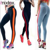Women Stripe Sport Patchwork Gym Yoga Pants High Waist Leggings fitness sprots pants W3378