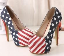 mejor venta caliente bandera eeuu tacón alto zapatos, bombas sexy plataforma de euros, zapatos de vestir tamaño 35-39(China (Mainland))