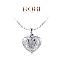 Wholesale ROXI Fashion Accessories Jewelry CZ Diamond Austria Crystal Pierced Heart Pendant Necklace Love Gift for Women