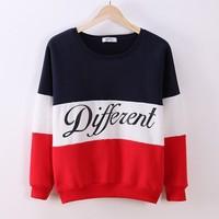 [Magic] 2014 winter newest style cotton hoodies letters Diffferent printed mix color casual sweatshirt women fleece sweatshirts