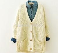 free shipping wholesale2014 new The van diamond Hemp flowers  Medium style The double pocket sweater coat