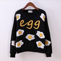 [Magic] funny Fried eggs printing fashion hoodies new arrival long sleeve o neck cotton sweatshirts for women fleece warm hoodie