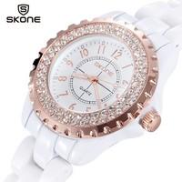 Women Quartz Dress Watch Ceramic Strap Analog Display Waterproof Rhinestone Wristwatches 2014 New Luxury Brand Relogio Feminino