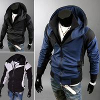Men Autumn Winter Fashion Wear Contrast Color Zipper Jacket Hoodies with Hood