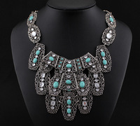 fashion jewelry necklaces for women 2014 vintage colar High-end Hand-made Green Turquoise colares femininos Chain Necklace