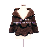 BG30486  Coffee Mink Fur Shawl Genuine Fur Shawl WithTassels Wholesale Retail Knitted Mink Fur Shawls
