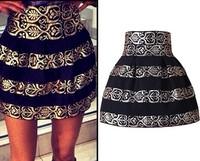 New Arrival 2014 Women skirts Fashion Brand Black Stripe High Waist Elastic Ball Gown Plus Short Skirt