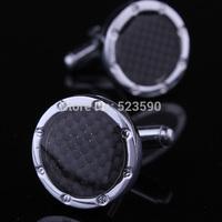 (XK004)Free Shipping, Black Bamboo Charcoal Fiber High-end Men's Cufflinks Shirts Cufflinks