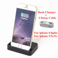 For Iphone 6/ Iphone 6 Plus 1PC Dock Charger + 1PC 8Pin  Charger Cable Docking Station Stand Sync Data For iPhone 5 5S 5C