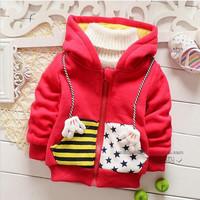 Baby boy girl jacket red yellow cotton long sleeve cartoon mickey hooded jacket kids boys jacket children jackets 4pcs/lot