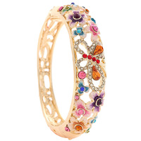 Explosion models cloisonne enamel bangle bracelet 18k gold plating Korean jewelry wholesale crystal jewelry trend woman
