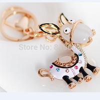 Free shipping!!Cute Resin Donkey Animal Metal Key Chain Keyring Handbag Charm Novelty Holiday Gifts for Girlfriend Lovers
