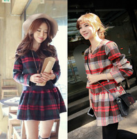 Winter women retro plaid pattern cute flannel thick long sleeve and O-neck woolen warm pleated skate mini dress