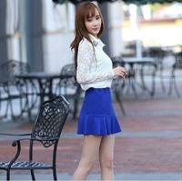 2014 Fashion atumn and winter  Female high waist short skirt solid color ruffle skirt  vintage hip slim fishtail mini skirt
