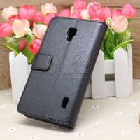 Black Wallet Flip Leather Case Cover + LCD Film For LG Optimus F6 MS500 D500 g