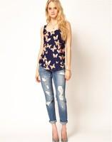 Women Butterfly Print Chiffon Tank Top Sleeveless Vest Casual Tee Shirt Blouse