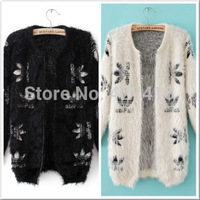 new 2014 women's fashion autumn and winter clover skull thickening mohair cardigan sweater shirt knitted outerwear free shipping