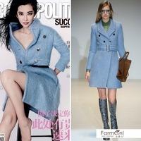 Winter 2014 Women Light Blue Double-breasted  Warm Wool coat  Without a belt 140928X01
