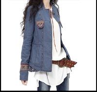 2014 Autumn Vintage embroidery patchwork jacket women's coats