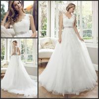 Vestidos De Noiva 2014 V Neck Open Back Sleeveless Bride Dress Lace Appliques Tulle Ball Gown Wedding Dresses Wish Sashes