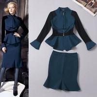 Free shipping women's fashion blouse green long-sleeve ruffles skirt suit set wholesale
