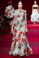 Sexy!Hot! 2015 spring women runway vintage fashion long mermaid dress dot carnation patterns print chiffon ruffles brand dresses