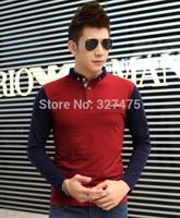 Free shipping 2014 Autumn Winter New Arrival Korean Style Turndown Collar Spliced Men's Slim Polo Shirt!