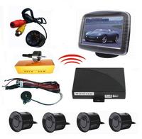 Car Wireless Video Parking Sensor Reversing Rearview Camera Parking Rear Bumper 4 Sensors Wireless Rear view Camera System