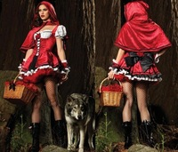 2014 Halloween Little Red Riding Hood Costume Sexy Ladies Cosplay Lingerie Mini Dress Women Clubwear Clothing free shipping