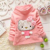 New baby girl t shirt pink white long sleeve hello kitty velvet t shirt kids girls bottoming shirt children t shirts 4pcs/lot