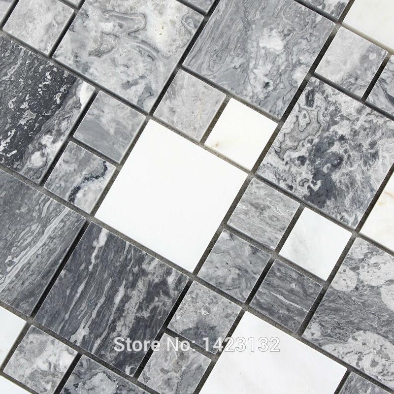 Telhas de pedra do mosaico telha de mármore cinza revestimento da cozinha azulejos backsplash design adesivos T046 creme branco de pedra telha para o banheiro(China (Mainland))