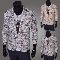 2014 colored single breasted  men blazers slim men  flowered clothes men's jacket suit fashion PX04