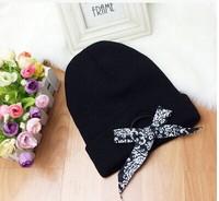 freeshipping 2014 new design fashion korea popular Tie bow knitting hats for men and women tidal autumn