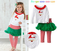 Free shipping Spring Autumn New Arrival girl christmas clothing,santa shirt + skirt pants two pieces set,kids clothing,5sets/lot