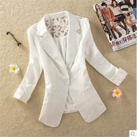 5 Colors Women Blazer Lace 2014 New Spring Autumn Elegant Suit Deep V-neck Suit Jacket Ladies Pads Shoulder Blazers Coat S-XXL