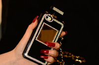 5.5 inch Pretty Luxury bling DIY Diamond Perfume Bottle case For Iphone 6 With CC Gold Metal Leather Chain+Free Shipping