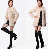 2014 new women winter long elegant lamb Faux Rex rabbit fur coat Long-Sleeve Slim Fit  Warm Outwear Covered Button White / Black