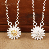 Hot Fine Jewelry beautiful daisy necklace for women Real 925 sterling silver jewelry 24k gold & silver necklaces & pendants AD81