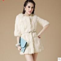 Rabbit fur coat new 2014 women's long coats overcoat big size outerwear coats coat women