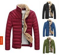 New Fashion Brand Slim Men Winter Warm Lambs Wool Cotton Jacket 2014 Man Outdoors Parkas Jackets and Coats Plus Size