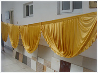 wholesale ice silkswags for backdrop curtain  suit   3x6m  backdrop curtains  golden swag for weddings