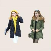 Plus size 4XL New2014 Fashion Casual Slim Real Fur Collar White Duck Down Military Jacket Women winter Jacket parka womens B2328