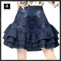 2014 Autumn Vintage embroidery denim skirt,women's short skirts womens