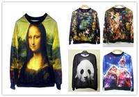 Mona Lisa Panda and More Unisex Thin Sweaters Fall Winter Sweatshirts One Size Multiple Styles Sexy Printed Hoodies