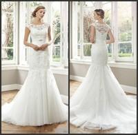 Vestido De Noiva Sereia 2014 Sexy Short Sleeve Applqieus Lace Mermaid Wedding Dresses Court Train Bridal Gowns Custom Made